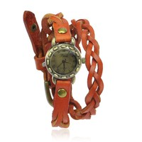 Braided Leather Ropes Wrap Watch