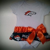Denver Broncos inspired Onesuit with skirt and bow by killerkrafts