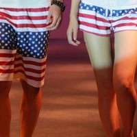 Cotton American Flag Beach Shorts for Couple