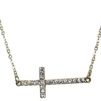 Tanya Kara Jewelry- Unique Trendy Fashion Jewelry- Kloe Gold Sideways Cross