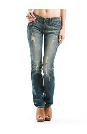 A'GACI Dark Wash Distressed Straight Leg - Denim