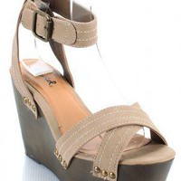 Qupid Fifi-01 Criss Cross Open Toe Wedge