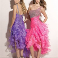 A-line Tea Length One-shoulder Open Back Hot Pink Or Purple Ed1007 Beads Evening Dress EVD077