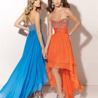 High-low Floor Length Sweatheart Open Back Orange Or Blue Ed1004 Sequins And Belt Evening Dress EVD074
