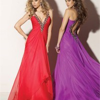 Column Floor Length V-neck Red Or Purple Ed1002 Sequins Evening Dress EVD072