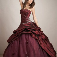 Glamourous Beaded Embroidery Floor Length Ball Gown Quinceanera Dress QD096