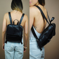 Vintage 1990s Black Vegan Faux Leather grunge mini back back