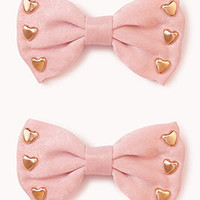 Heart Bow Hair Clips