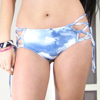 SIDE LACE BIKINI - fully adjustable, full coverage bottom, medium rise, lace up sides, cloud print, sky print, blue white, plus size bikini