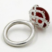 Red Carnelian Ring with Cast Lace Gallery Setting by WhiteFly