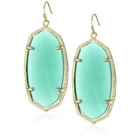"Kendra Scott ""Candy Jewels"" 14K Gold Plated Green Onyx Danielle Earrings - designer shoes, handbags, jewelry, watches, and fashion accessories 