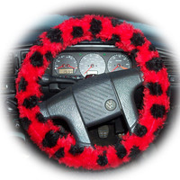 Ladybird ladybug red and black spot faux fur fluffy fuzzy furry car Steering wheel cover