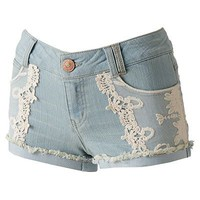 Rewind Lace Front Denim Shortie Shorts - Juniors
