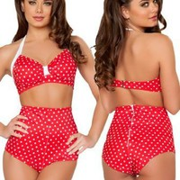 Amazon.com: Red Polka Dot High Waisted Bikini Bottom Shorts - SMALL/MEDIUM: Clothing