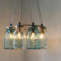 Modern Country MASON JAR Chandelier - Upcycled Hanging Mason Jar Lighting Fixture Direct Hardwire - BootsNGus Lamps Rustic Home Decor