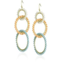 Flying Lizard Designs Pearl, Orange, Turquoise Tiered Circles Earrings - designer shoes, handbags, jewelry, watches, and fashion accessories | endless.com