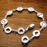 Custom Initial Bracelet with Shapes - Handmade Sterling Silver Bracelet | SmilingSilverSmith Handmade Silver Rings & Jewelry