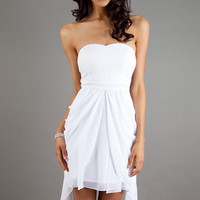 Short Strapless White Dress by XOXO