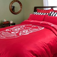 Sin in Linen Embroidered Sugar Skull Red Duvet Cover