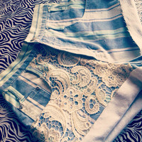 Highwaisted  Blues denim shorts  by AngeliqueMerici on Etsy