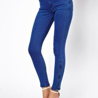 Oasis Bleach Blue Zip Hem Jean