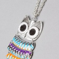 *Accessories Boutique The Enamel Owl Necklace,Jewelry for Women