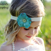 Teal Dogwood Blossom Headband with Gemstone Flower by djcjlw