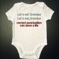 Correct Punctuation Funny Onesuit Baby Clothes by VicariousClothing