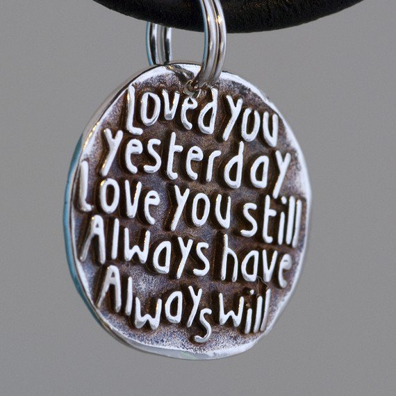 Loved you Inspirational Quote on Fine Silver Charm by CharmsMaker