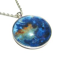 Planet Earth Pendant, Galaxy Necklace, Silver Plated Necklace, Women's Jewelry, Glass Cabochon