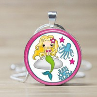 Pink Mermaid Glass Tile Pendant - by LittleRedStrawberry on madeit