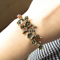 Adjustable Vintage Plum flower Bracelet