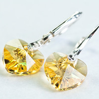 Small Heart Earrings Swarovski Crystal Ear Cuff Short by DevikaBox