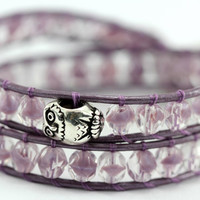 Beaded Leather Wrap Bracelet : Wild Mulberry. Crystal and Light Amethyst Metallic Bohemian Double Friendship Wrap, Silver Owl Pandora Charm by ArtisanTree