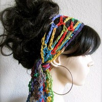 Parrot Feathers Hand Crochet Gypsy Style Hair Band and Scarf | byKEONA - Accessories on ArtFire