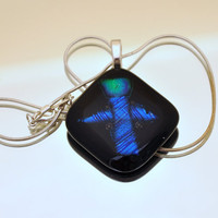 Abstract pendant necklace blue angel fused by GeckoGlassDesign