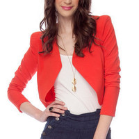 Penelope Cropped Jacket in Red Orange :: tobi