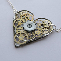 Clockwork Heart Necklace Racer by amechanicalmind on Etsy