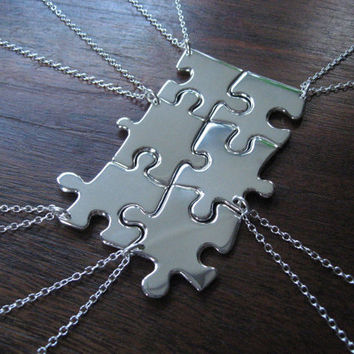 Six Silver Puzzle Piece Pendant Necklaces by GorjessJewellery