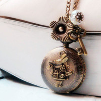 Alice in Wonderland Pocket Watch Necklace by CeciliaJewelry