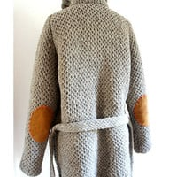 HERITAGE  SWEATER Hand Knit Virgin Wool Fisherman Roll Neck Cardigan Sweater ((Size Large))
