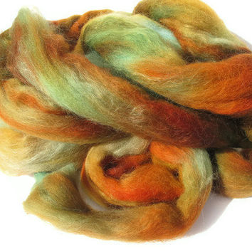 Hand Dyed Roving Turquoise Orange Brown by flickertailfibers