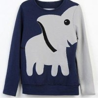 Elephant Pattern Round Neck Hoody Tee Sweater