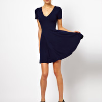 ASOS Skater Dress With V Neck And Short Sleeves.