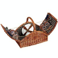Household Essentials Woven Willow Picnic Basket, Square Shaped, Fully Lined, Service for 4:Amazon:Home & Kitchen