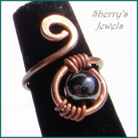 Magnetic hematite adjustable copper  ring