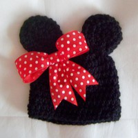 Adorable Newborn 0 - 3 Months Mouse Baby Hat With Or Without Red Polka Dot Bow Photo Prop | Luulla