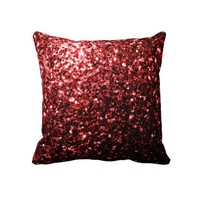 Beautiful Glamour Red Glitters sparkles Throw Pillow from Zazzle.com