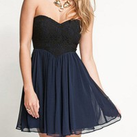 Sweetheart Lace Wrapped Chiffon Dress