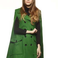 The Wizard of Oz  Green Wool Cape Coat Double by Sophiaclothing